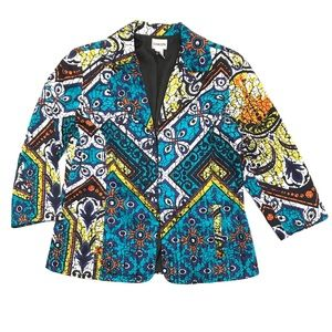 Chico's All Over Marbled Boho Print Blazer